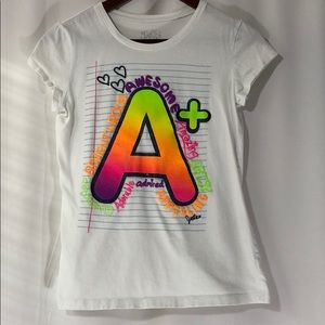 Justice A+ Girls White T-Shirt